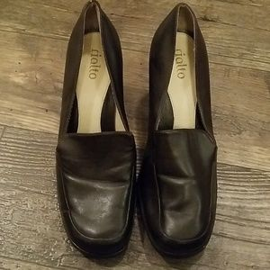 Brown high heel loafers